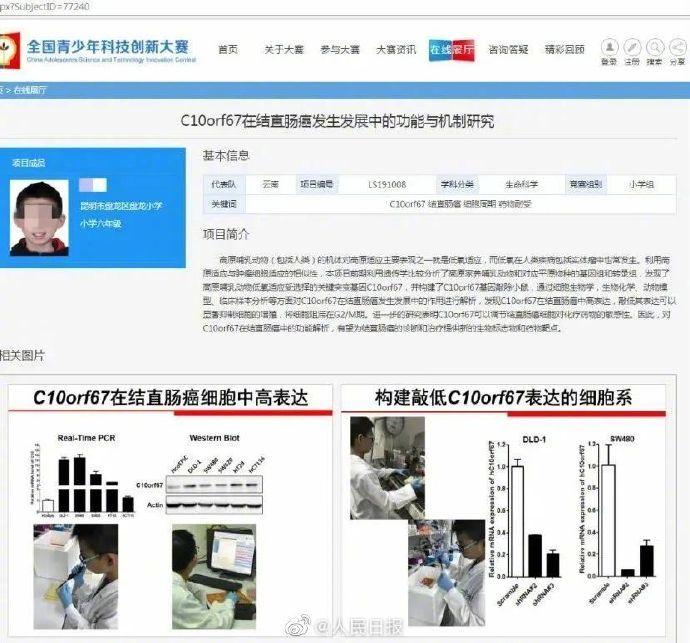云南科協調查小學生研究癌癥獲獎事件