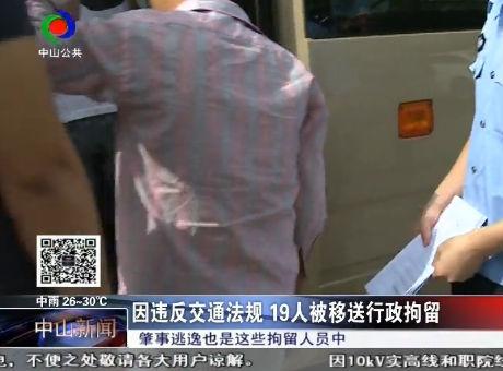 因违反交通法规19人被移送行政拘留