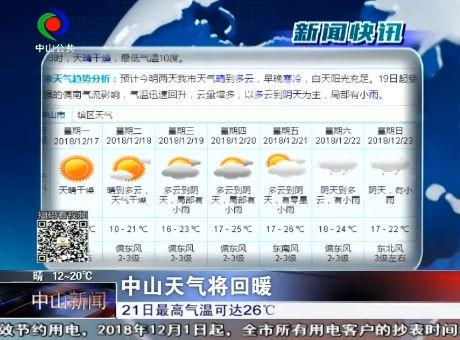 中山天气将回暖
