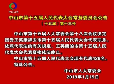 中山市第十五届人民代表大会常务委员会公告〔十五届〕第十三号