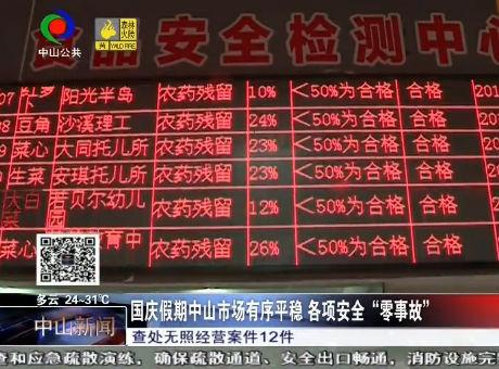 """国庆假期中山市场有序平稳 各项安全""""零事故"""""""