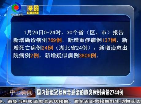 视频丨国家卫健委:国内新型冠状病毒感染的肺炎病例确诊2744例