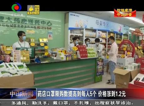 中山新聞| 藥店口罩限購數提高到每人5個 價格漲到1.2元